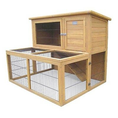 Rabbit Hutch Chicken Coop Guinea Pig Ferret Cage Hen House Double Storey Run #T
