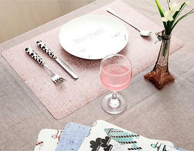 Creative Imitation Linen Table Mat Pad Waterproof Double Side Printed Placemats
