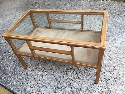 Collectors Cabinet Display Coffee Table Triang Dinky Corgi Etc Solid Oak