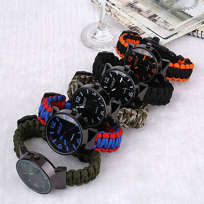 Multifuctional 1 Survival Paracord Watch Flint Compass Hiking Travel Outdoor