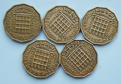 x5 Queen Elizabeth II brass threepence coins ~ 1953, 54, 55, 56, 57 (lot 3ph)