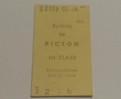New South Wales Railways Train Ticket Sydney To Picton Machine Issue 1St Class