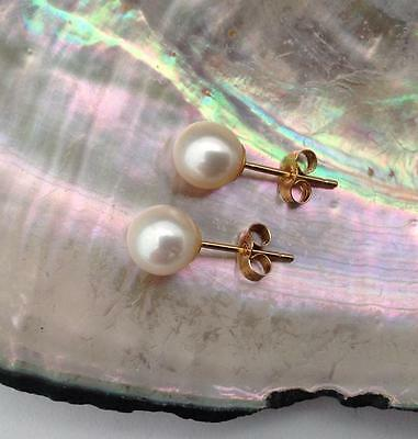 7 mm. Fresh Water Round Pearl Stud Earrings on 18 ct. Gold (butterfly)