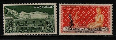 1953 Laos Air Stamp(Mnh) S.g.34,37
