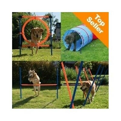 Dog Training Equipment Obstacle Course Agility Tunnel Jumps Set Kit Weave Poles