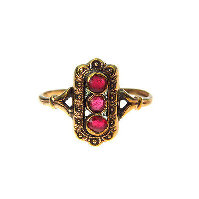 Faux Ruby Gold Fill Victorian Ring