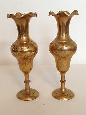 Pair Brass Etched Urn Vases Small Indian Decorative
