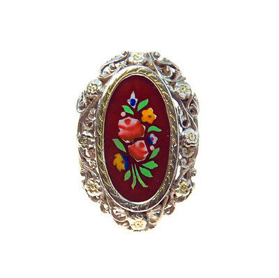 Antique Sterling Statement Ring Pietra Dura Look Sz 8.25 Elaborate Floral Frame