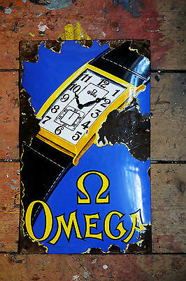 Old Rare Omega Watches Antique Vintage Enamel Advertising Sign