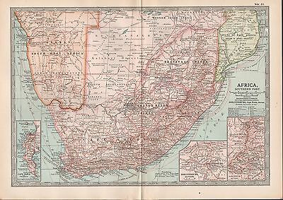 1903 Britannica Antique Map Africa Southern Johannesburg Cape Town Ladysmith