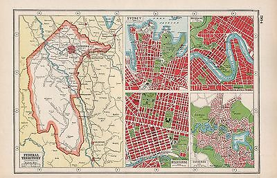 1920 Map -Post Ww1- Australia- Federal Territory, Insets Sydney,melbourne,canber