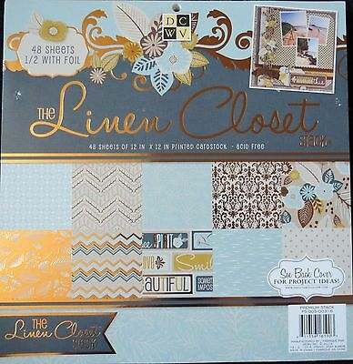 "Linen Closet 12""x12"" Premium Cardstock Paper Stack with Foil by DCWV"