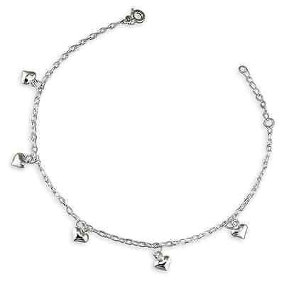 925 Sterling Silver Anklet Hearts NEW in Box