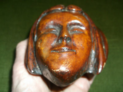 Unusual Antique Carved Wooden Memento Mori Death Mask Of A Dead Lady In A Shroud