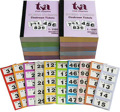 1 Book of 1-1000 Cloakroom Raffle Tombola Tickets