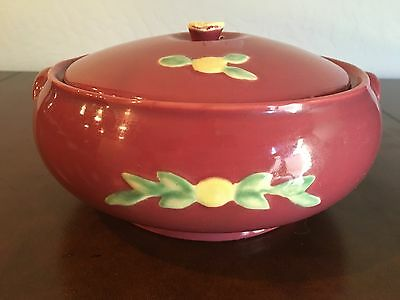 RARE Coors Beer Pottery Rosebud French Casserole Stein Covered Bean Pot Red