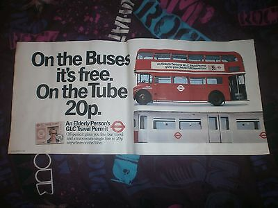 LONDON TRANSPORT ROUTEMASTER INTERIOR POSTER-BUSES FREE/TUBES 20p GLC PERMITS