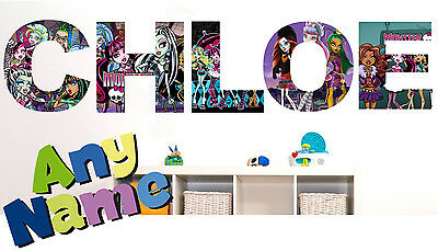 MONSTER HIGH letter name wall stickers (3 sizes available & PRE-CUT)