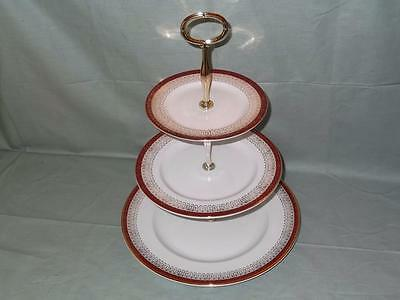 Royal Grafton Majestic 3-Tier Hostess China Cake Plate Stand Red & Gold (V1)