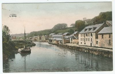 HAVERFORDWEST postcard - CLEDDAU RIVER - posted 1918