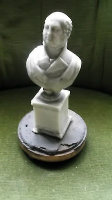 Rare Antique Georgian Solid Wax Bust & Column Of King George Iv 1827 & Wood Base