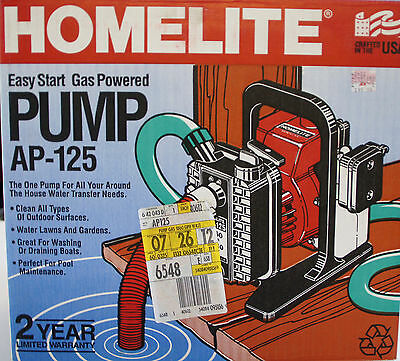 HOMELITE AP-125 Water Pump, Easy Start, Gas Powered