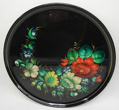vintage hand painted varnish tray - Altes handgemaltes Blumen Motiv Lack Tablett