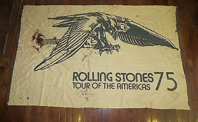 Vintage Rolling Stones 1975 Tour Of The Americas Concert Tour Satin Flag Poster
