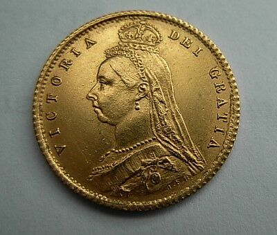 Gold  1887  VICTORIA 1/2 sovereign  BEAUTY AU/UNC  as per  pictures UNCERTIFIED