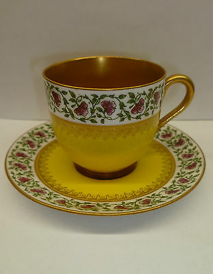 Royal Worcester 1924 Demitasse Cabinet Cup And Saucer Floral Yellow And Gold