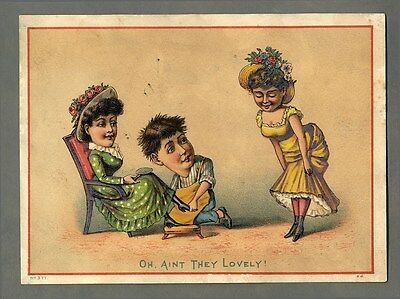 SHOE SALESMAN with PRETTY WOMEN Victorian Card 1880's - Showing Off New Shoes