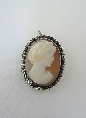 Vintage Carved Shell Cameo Brooch Pendant Classical 800 Silver Mount 1940s