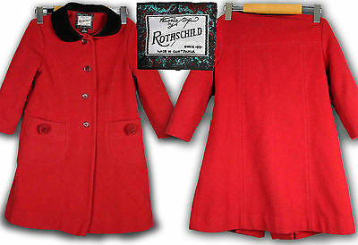 ROTHSCHILD Girls Red Wool Coat Size 5 Vintage Pea Coat Roses