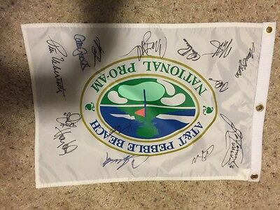 At&t Pebble Beach Pro Am celebrity Golf Tournament signed golf flag 14
