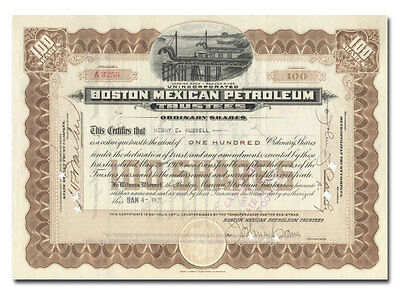Boston Mexican Petroleum Trustees Stock Certificate