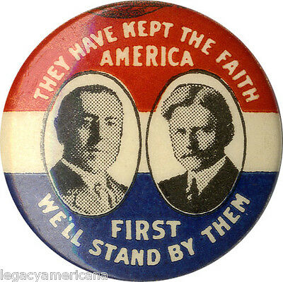 1916 Wilson Marshall KEPT THE FAITH Jugate Campaign Button (4576)