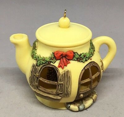 "Vintage 1980 Hallmark Chipmunk Teapot House ""A Spot of Christmas Cheer"" Ornament"
