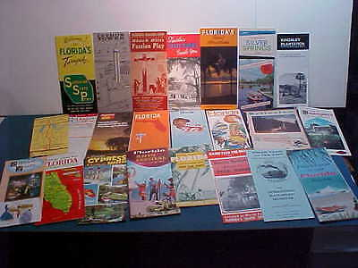 Lot With 23 Colorful Florida Brochures, Maps, Guides & Ephemera 1940's To 1960's