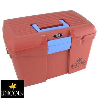 Lincoln Tack Box - MARSALA (RED) *Mounting Step/Carry Grooming Kit* *FREE P&P*