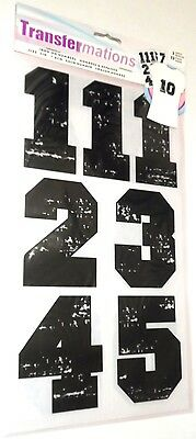 """Heat Transfer Large Iron On 3"""" Black Numbers White 13 ct. Transfermations"""