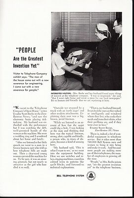 Bell Telephone System Sexist Vtg Print Ad Open House Exhibit People1956