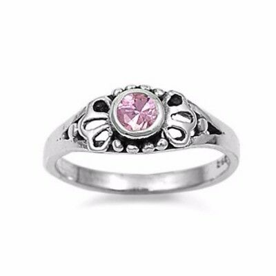 .925 Sterling Silver Ring Size 4 CZ Kids Midi Baby Pink Ladies Celtic New b05