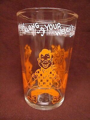 HOWDY DOODY Welch Jelly Drinking GLASS Advertising Orange Clarabell Clown 1953