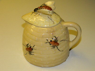 Vintage Mojolica Bee Hive Honey Syrup Pitcher Creamer