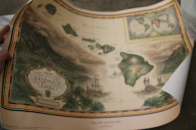 Map of the Sandwich Isles - new 1988 vintage map 18x28 Blaise Domino