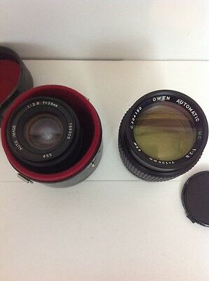 vintage camera lense bundle owen automatic 135mm / auto image 28mm