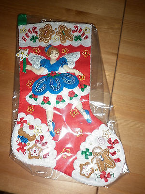 Bucilla Completed Christmas Stocking Christmas Fairy