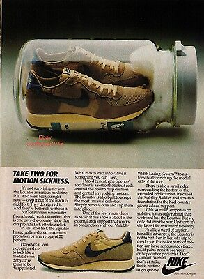 "1982 Nike ""Equator"" ""Take For Motion Sickness"" Vintage Running Shoe Print Advert"