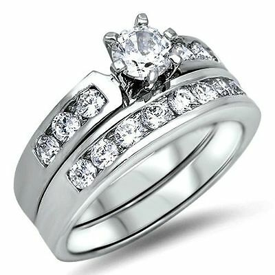 925 Sterling Silver Wedding Ring Set CZ Round Cut Engagement Size 9 New w53
