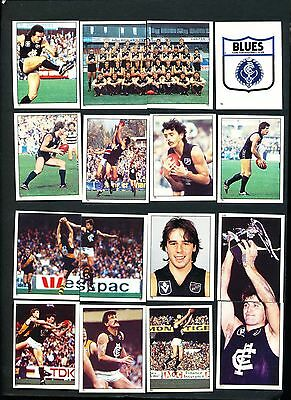 1984 Scanlens Carlton Blues Sticker Team Set 16 stickers straight out of packet